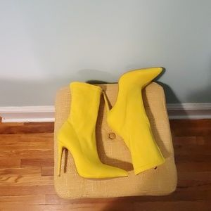 Yellow High Heeled Calf Booties